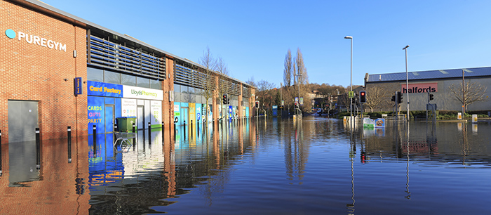 Flooding at a retail park in Leeds during December 2015
