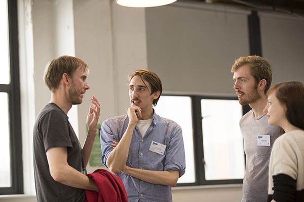 2965 – (Left to right): Jamie Brass and Nick Roxburgh discuss ideas with Jonathan Keen and Cat Ashdown